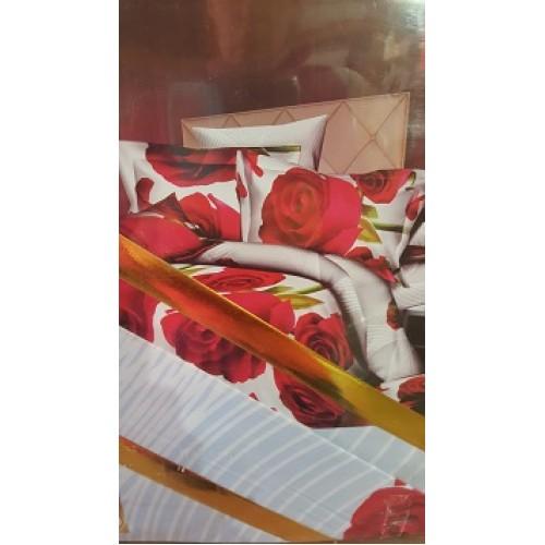 КПБ Семейный Красные розы 3Д поплин