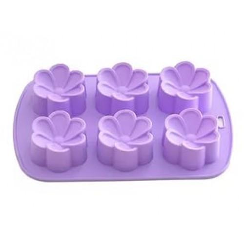 Форма для выпечки 6 кексов Цветы 26,5*17*3см ,цвет
