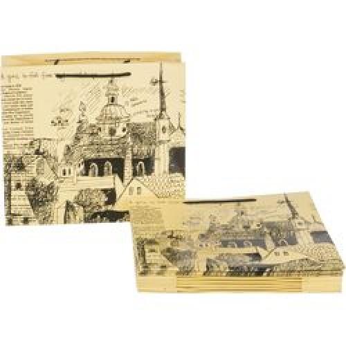 Пакет подарочный бумажный 30*27*12см мин10