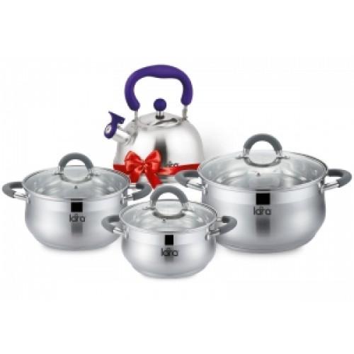 Набор посуды LARA Bell 6пр ( кастрюли 1,9+3,6+6.1л