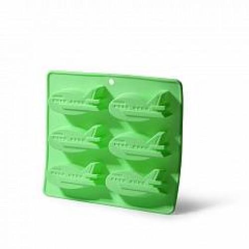 Форма для выпечки 6кексов САМОЛЕТЫ цв.зеленый сили